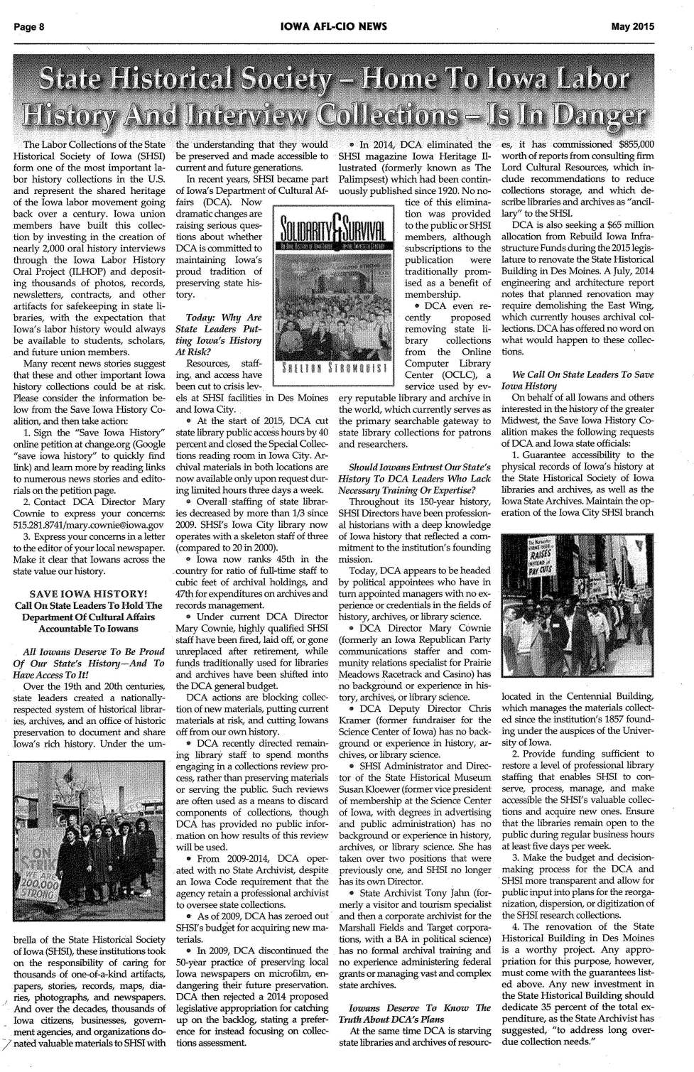 Iowa AFL-CIO News.May.2105.SHSI